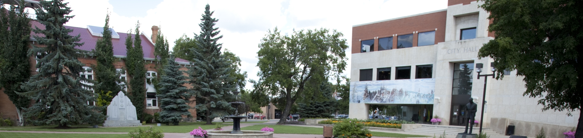 A view of City Hall and Memorial Square in Prince Albert